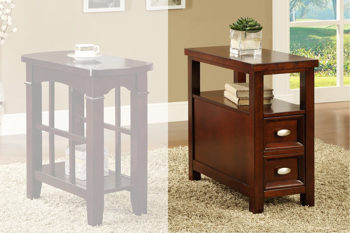 Amazon.com: Light Cherry Chair Side Table With 2 Drawers By Poundex:  Kitchen U0026 Dining
