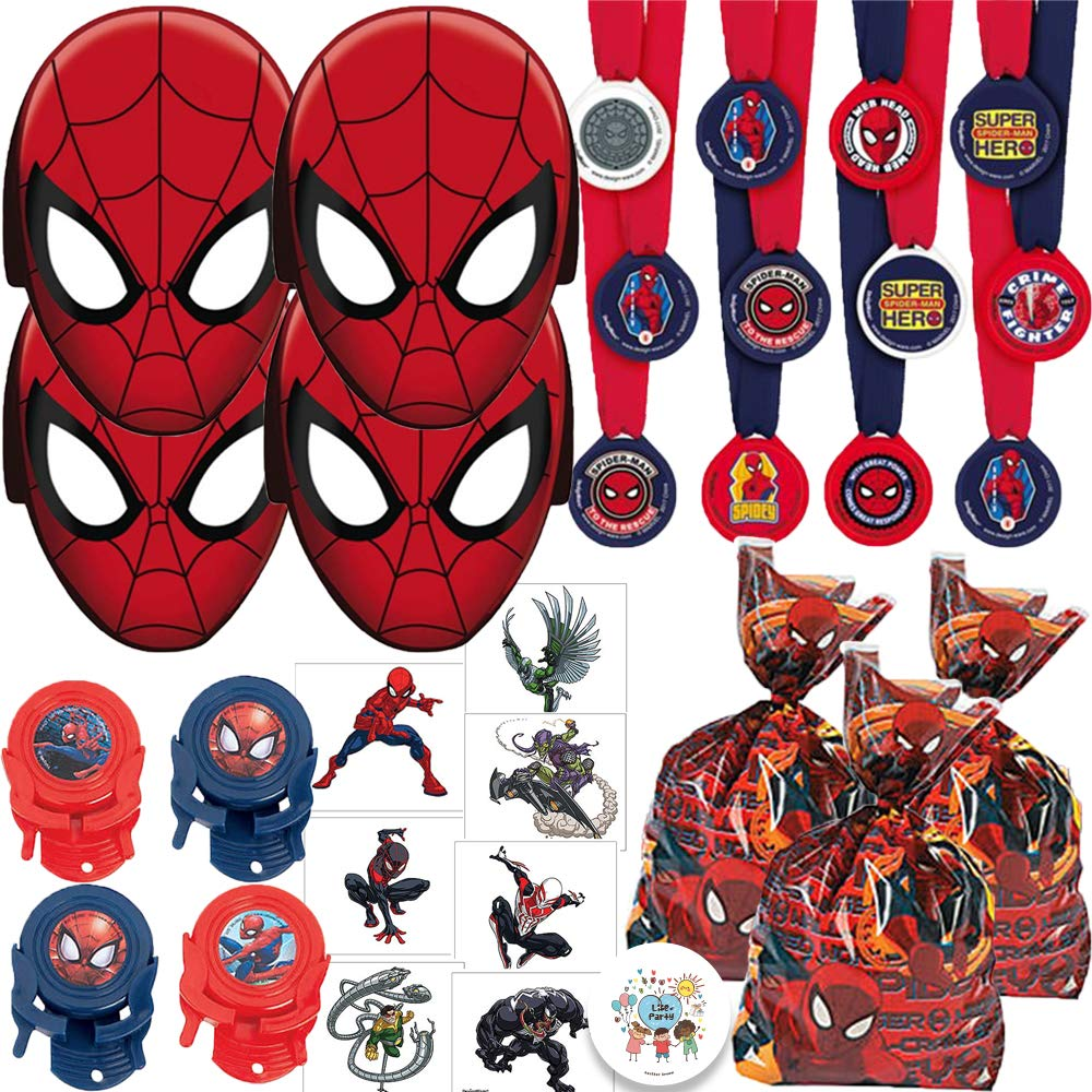 Spiderman Birthday Party Favors Pack For 12 With Medals, Spiderman Paper Masks, MINI Disc Shooters, Spiderman Tattoos, Favor Goodie Bags, and Exclusive Pin By Another Dream