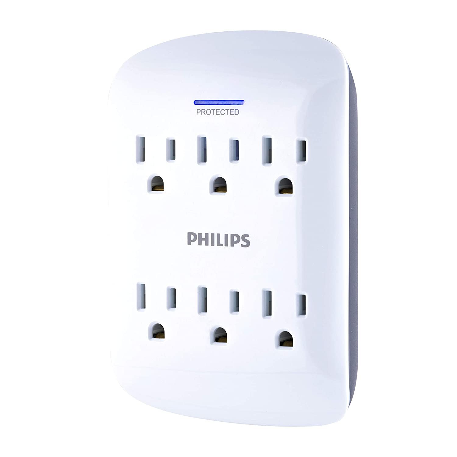 Philips 6 Outlet Surge Protector Tap, 900 Joules, Space Saving Design, Protection Indicator Led Light, Gray & White, Spp3461 Wa/37 by Philips