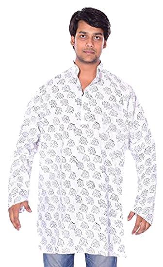 6478b253960cb Lakkar Haveli Indian 100% Cotton Men s Kurta Shirt Loose Fit Elephant Print  Hand Block White