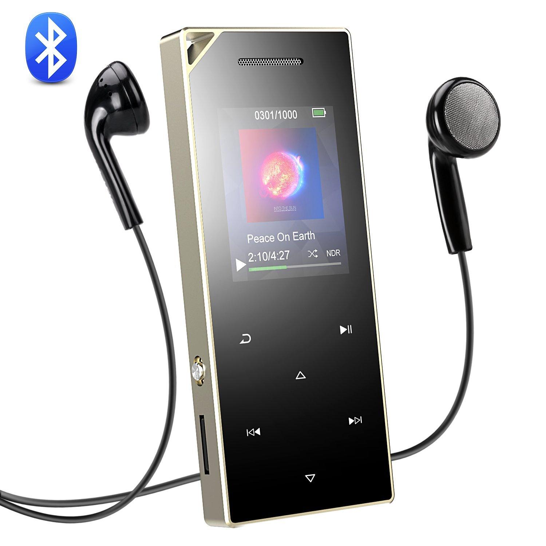 AGPTEK Reproductor MP3 Bluetooth 16GB Hi-Fi, Metalico con Botón Táctil, 1.8TFT Pantalla, Altavoz, Grabación Independiente, Enganché para Correa, FM Radio, ...