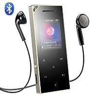 AGPTEK Bluetooth 4.0 16 GB Touch Bedienfeld Metall MP3 Player, HiFi Lossless Sound Musik Player mit 1,8 Zoll TFT Farbbildschirm, Lautsprecher und Lanyard Loch, unterstützt bis 128 GB SD Karte, Silber