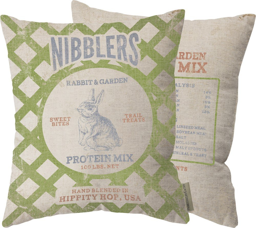Primitives By Kathy Nibblers Rabbit and Garden Protein Mix Pillow 14 x 17