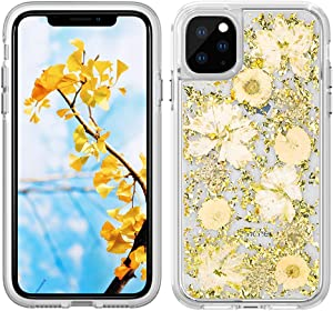 Bpowe iPhone 11 Pro Max Case,Luxury Glitter Case Flowers Cute Girls Women Durable Shockproof Flexible TPU Frame Hard PC Back Protective Cover for Apple iPhone 11 Pro Max 6.5 inch 2019 (Gold Petals)