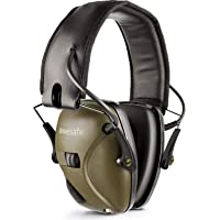 Ear Protection Earmuff, Awesafe Electronic Hearing Protection for impact sport [Comes with Hard Travel Storage Carrying Case Bag], Safety Ear Muffs, NRR 22 dB, Ideal for Shooting Range and Hunting (Earmuffs, GF01-Green)