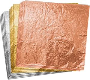 Paxcoo 300 Sheets Gold Foil Paper with Store Box Imitation Gold Leaf Gold Rose Leaf Silver Leaf for Arts, Gilding Crafting, Decoration, 5.5 by 5.5 Inches