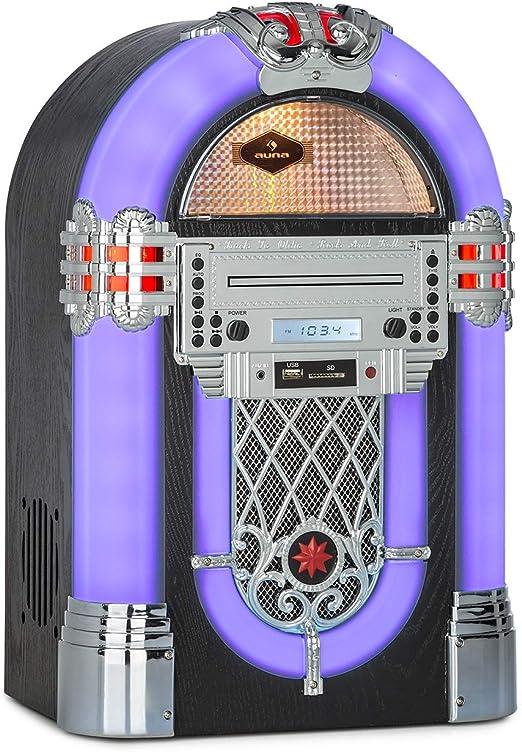 auna Kentucky Equipo Jukebox - Bluetooth, sintonizador FM,