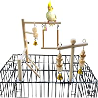 PINVNBY Bird Playground Parrot Play Gym Parakeet Cage Play Stand Wooden Perches PlaypenLadders Conure Chewing Climbing Swing Toy Birdcage Accessories forSmall CockatooCockatielLovebirdsBudgie