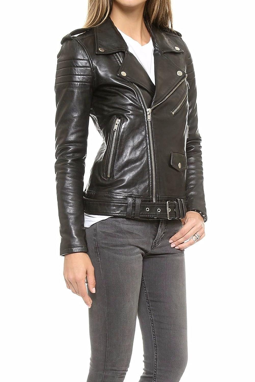 Leather Lifestyle Womens Lambskin Leather Biker Motorcycle Stylish 100/% Real Black Jacket #WJ33