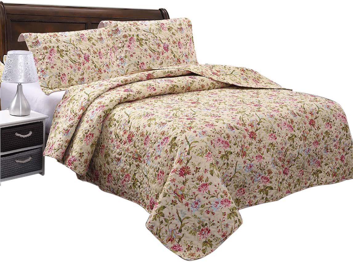 Soft and Breathable Cotton JML Quilt Set King Size Lightweight Printed Bedding Bedspread 3 Pieces