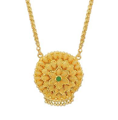 5c4b876579f Buy Bfc One Gram Gold Plated Green Diamond Flower Designer Long ...
