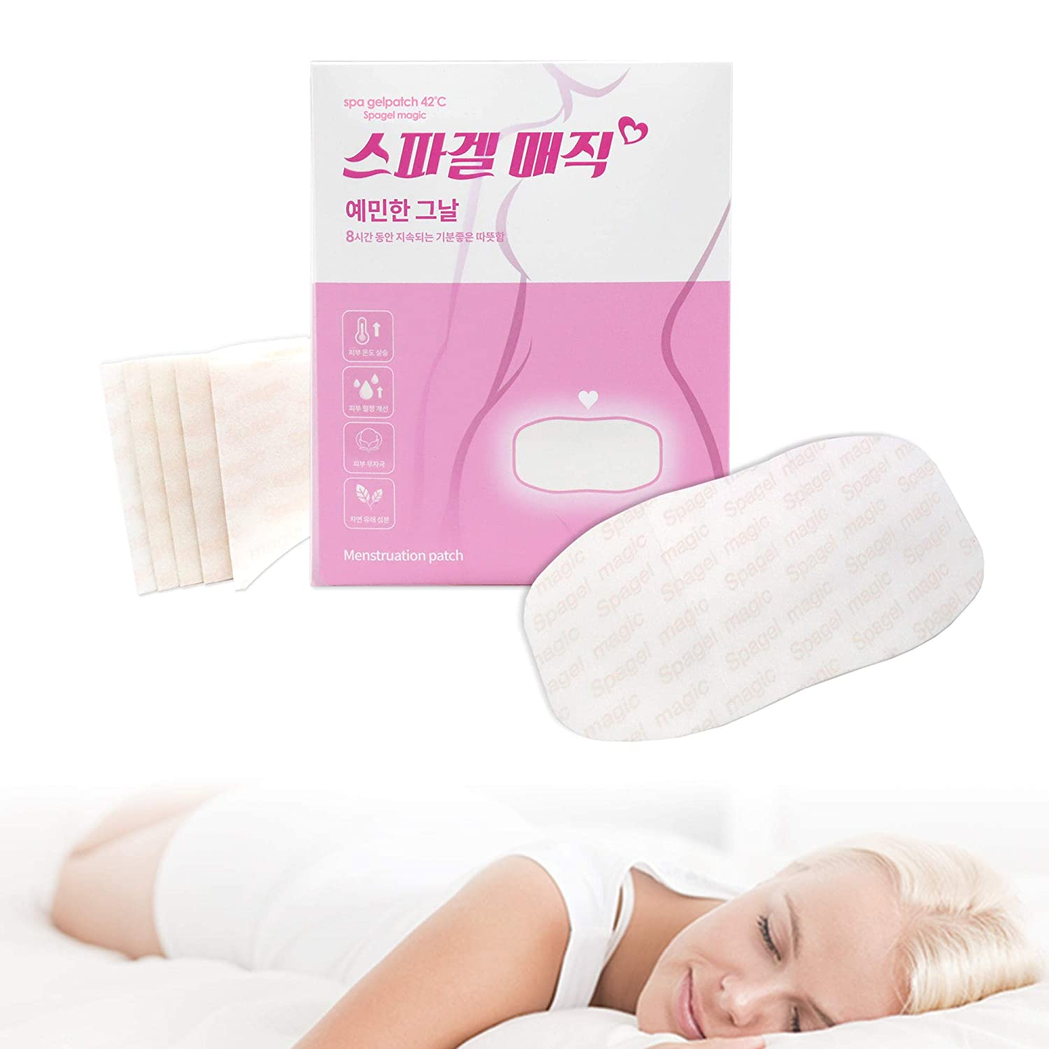 Spagel magic - Menstrual Cramp Period Pain Heating Pads Relief Heat PMS Female Hormones Balance Therapy Wraps Estrogen PMDD Disposable Back Neck, Capsaicin Natural Ingredients - spa gelpatch 42℃