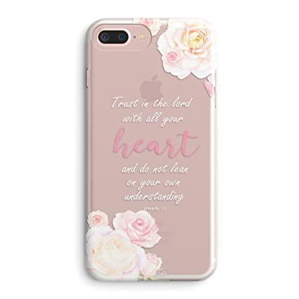 Iphone 7 Plus Case Iphone 8 Plus Case Girls Floral Flowers Christian Bible Verses Inspirational Pink Proverbs 3 5 Trust Lord With All Your Heart