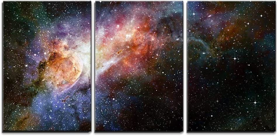 """wall26 - 3 Piece Canvas Wall Art - Beautiful Multicolored Galaxy - Modern Home Decor Stretched and Framed Ready to Hang - 16""""x24""""x3 Panels"""
