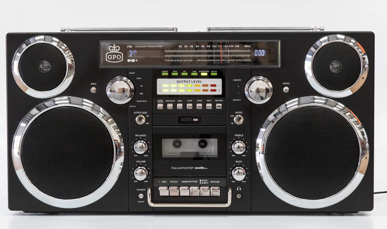 GPO Brooklyn Boombox Portable 1980s Retro Style Music System with CD/Cassette/DAB Radio and Bluetooth - Black by GPO (Image #3)