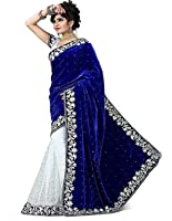 Globalia Creation Women's Velvet Saree (Gol-3844Eidsp_Blue)