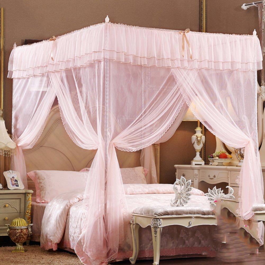 Four corner princess wind mosquito net bed canopy, Three-door opener Stand landing Court Double Home mosquito-curtain-C Queen2