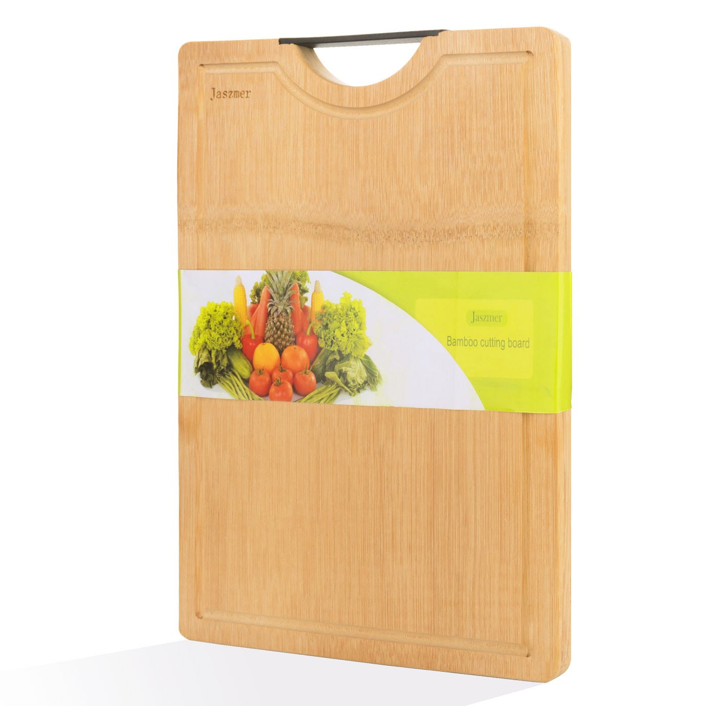 Bamboo Cutting Board for Kitchen, JASZMER Premium All-Natural and Multi-size Meat Cutting Board with Drip juice Grooves & Handle