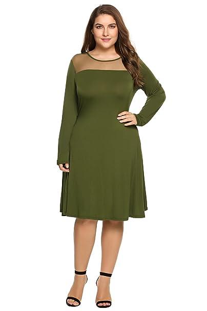 Involand Women Plus Size Sheer Mesh Patchwork Tunic Dress Long Sleeve Swing  Dress