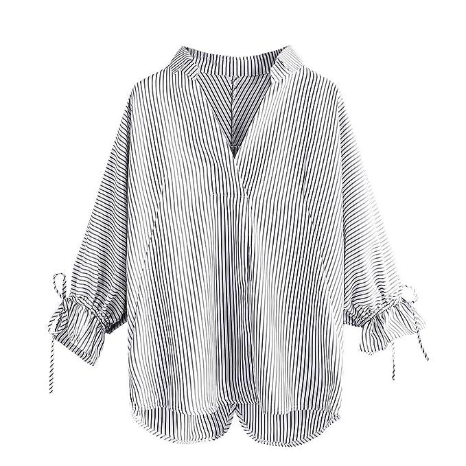 Sexys Camisetas Mujer BBestseller Puños de Unión a Rayas e Invierno Camisa de Manga Larga de Blusas Camiseta de Polyester Casual Manga de la Linterna ...