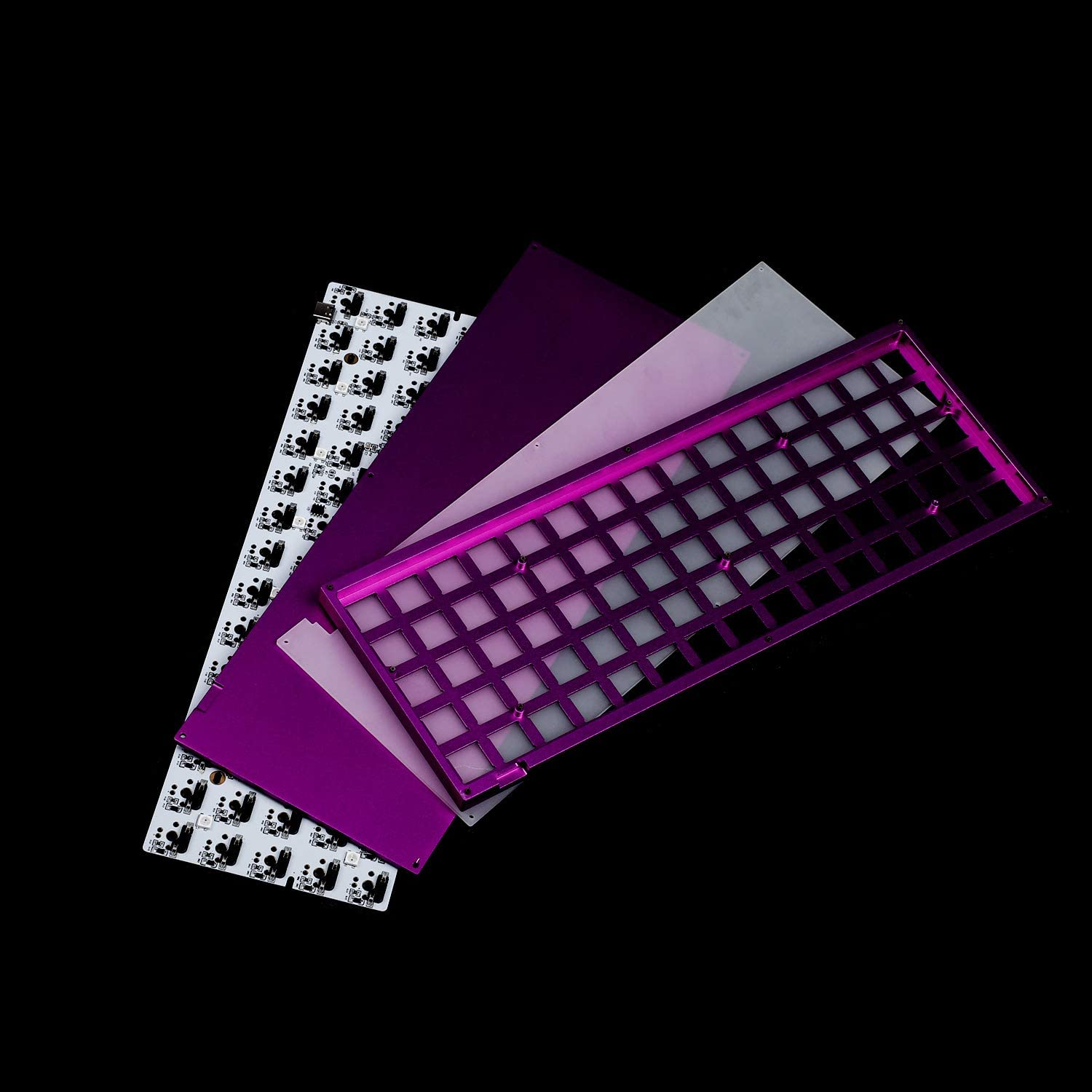 ID75 75 Keys Ortholinear Layout QMK Anodized Aluminum Case Plate hot-swappable Hot Swap Type C PCB Mechanical Keyboard Kit Silver