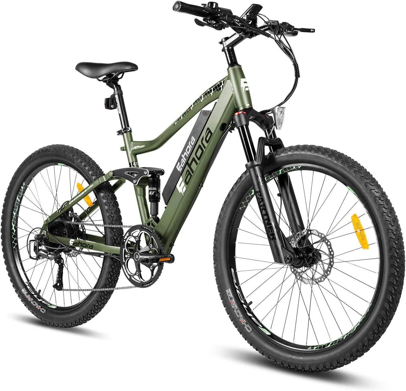 best full suspension mountain bike under 2000: eAhora AM100 27.5-inch 48V Mountain Electric Bicycle