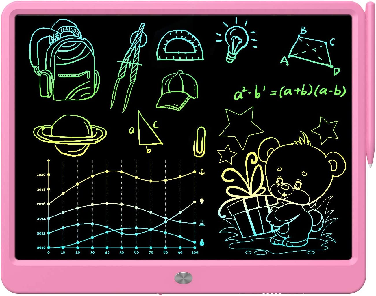 LCD Writing Tablet 15 Inches Colorful Screen Drawing Pad Doodle Board Electronic Digital Drawing Tablet for Adults and Kids Ages 3+