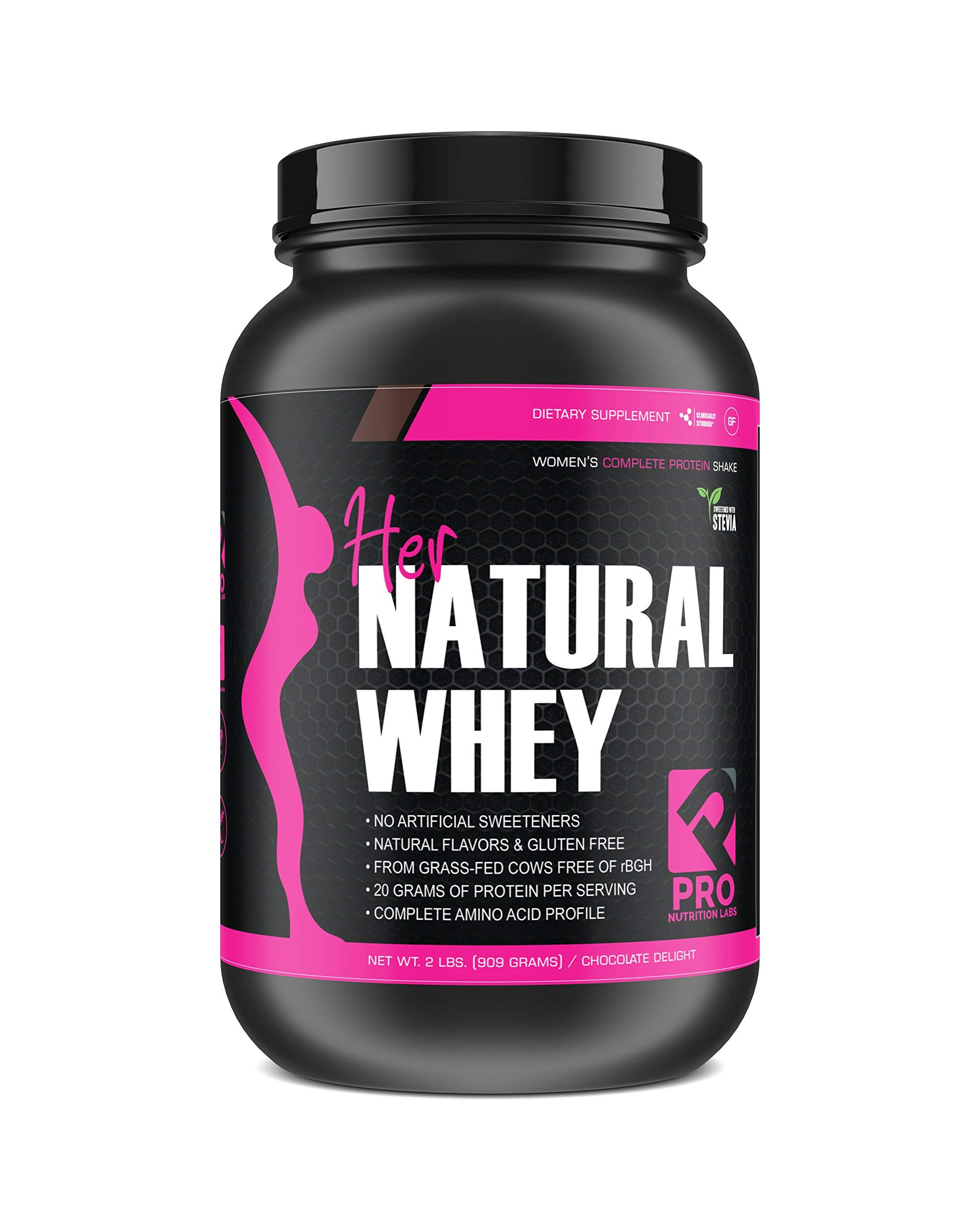 Protein Powder for Women - Her Natural Whey Protein Powder for Weight Loss & to Support Lean Muscle Mass - Low Carb - Gluten Free - rBGH Hormone Free, Sweetened w/Stevia (Chocolate Delight, 2 lb) by Pro Nutrition Labs