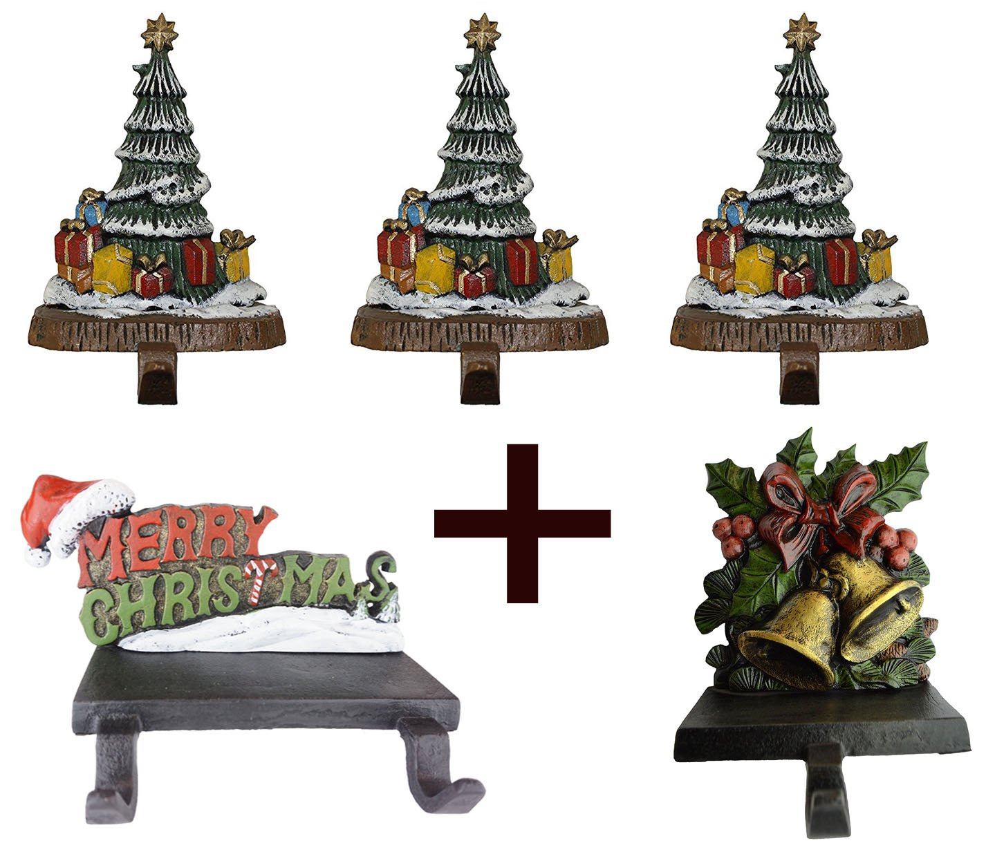 Lulu Decor, 100% Cast Iron Combo Deal, Decorative 6 stocking holders, includes 3 Christmas Trees, 1 Merry Christmas & 1 Bell (Combo deal Tree with MC & Bell) by LuLu (Image #1)