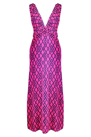 6827aeb9733 2LUV Women s Diamond Print Knotted Summer Holiday Resort Beach Maxi Dress  Hot Pink S (D8844