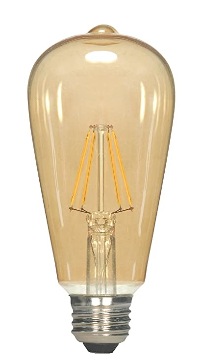 Satco S9579 ST19 LED Transparent Amber Medium Base Light Bulb, 6.5W
