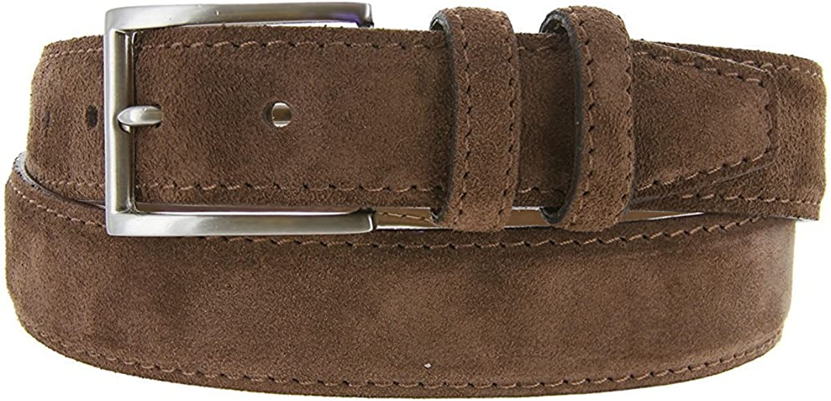Hagora Men 1-3//8 Wide Full Suede Stitched Edges Nickel Finish Buckle Belt
