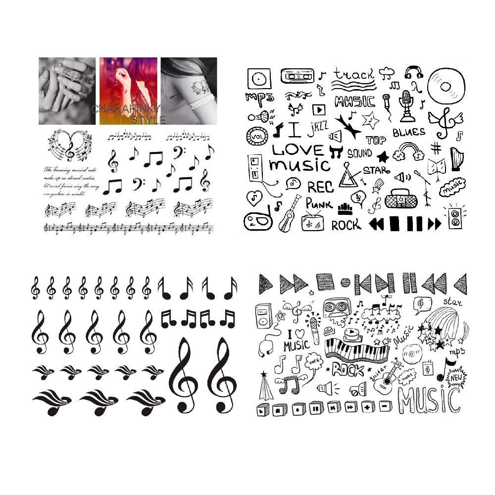 SanerLian Music Temporary Tattoo Sticker Waterproof Black Geometry Adult Men Women Neck Chest Hand Finger 15X11cm Set of 4
