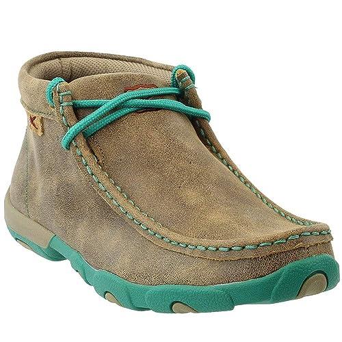 Twisted X - Mocasines de conducción con cordones de color turquesa para mujer, 8 B(M) US, Bomber: Amazon.es: Zapatos y complementos