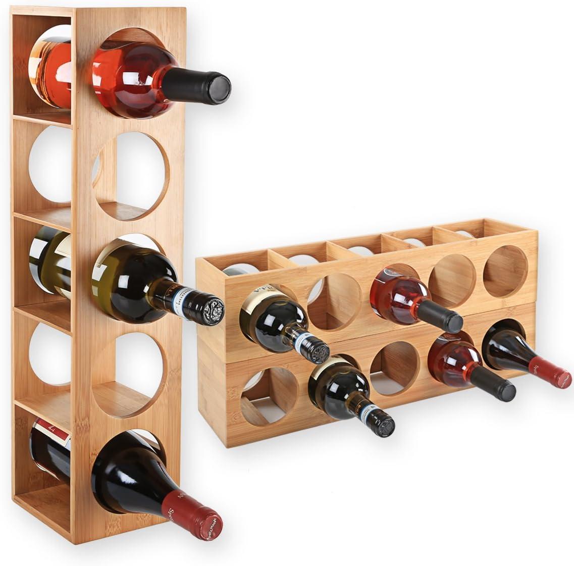 Dimensioni 13,5x12x53 cm impilabile in legno di bamb/ù per 5 bottiglie di vino per posizionare collocazione o per montaggio a parete Gr/äfenstayn/® 30543 cremagliera del vino CUBE ampliabile