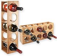 Gräfenstayn® 30543 Botelleros CUBE - apilable de madera de bambú para 5 botellas de vino para la colocación