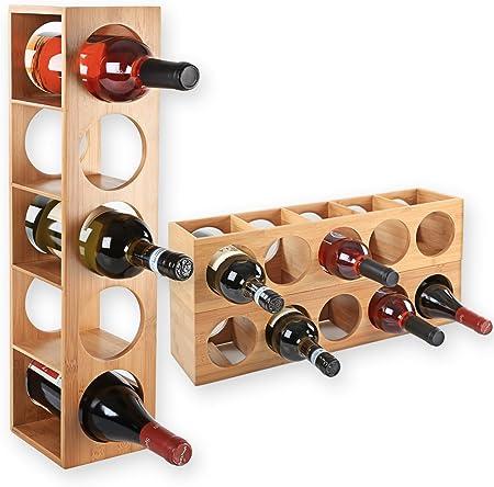 Gräfenstayn Wine Rack CUBE de madera de bambú fina para sus mejores vinos - Dimensiones: 13,5x12x53c