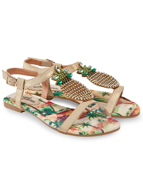 588d01cadf51 Joe Browns Womens Flat Strappy Sandals with Jewelled Pineapple T-Bar Gold  Multicoloured 8  Amazon.co.uk  Shoes   Bags