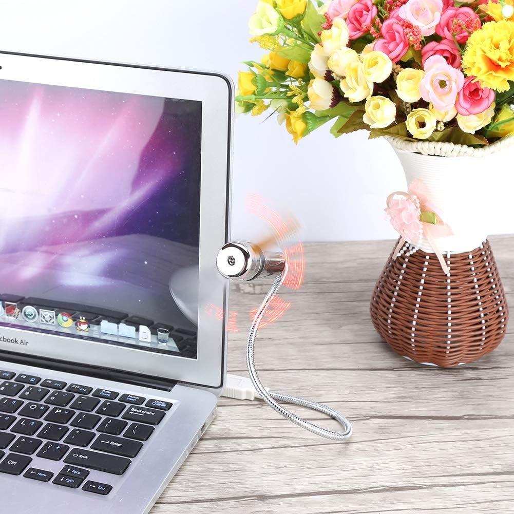 Bewinner Mini USB Flexible Fan for Home Office Travel Portable Desktop Fan with Flexible Neck LED Programmable Message Display Mini RGB USB Fan for PC Notebook Laptop