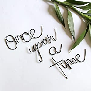 Handmade wire words - Once upon a time - bedroom living room metal wall art wall sign wall decor