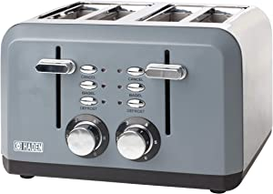 Haden PERTH 4-Slice, Wide Slot Toaster with Browning Control, Cancel, and Defrost Settings in Slate Grey