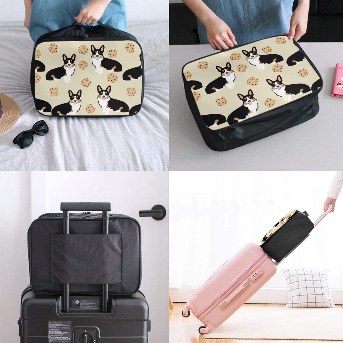 JTRVW Luggage Bags for Travel Funny Corgi Dogs Cookies Travel Lightweight Waterproof Foldable Storage Carry Luggage Duffle Tote Bag
