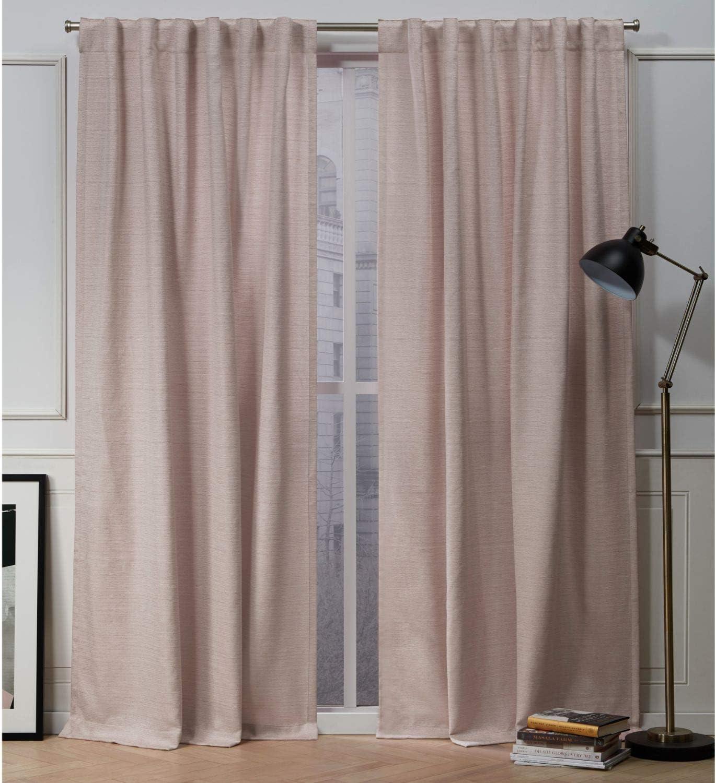 Nicole Miller Mellow Slub Hidden Tab Top Curtain Panel, Blush, 54x84, 2 Piece