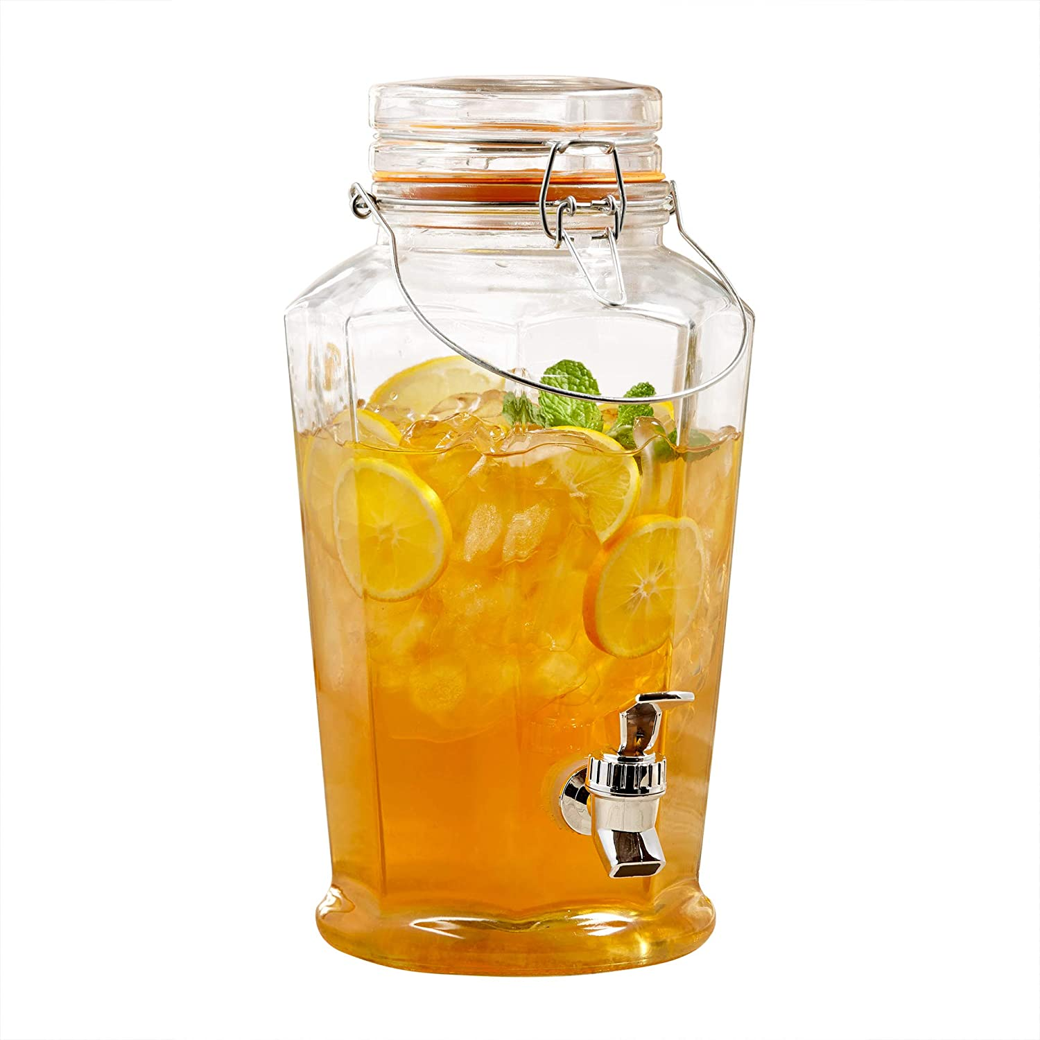 Style Setter 210222-GB Auburn Beverage Dispenser with Metal Handle, Clear