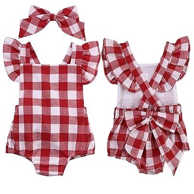 e48f1e900 POLP Bebé Monos ♡♡ Ropa Bebe Niña Verano Recién Nacido Bebé Mono de  Cuadros con Horquilla Conjuntos para