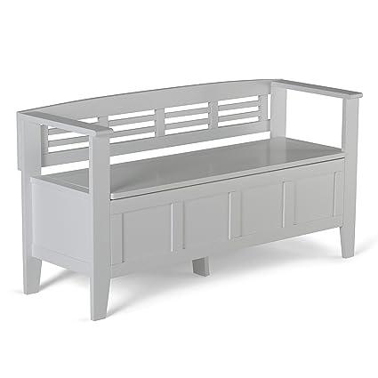 Simpli Home Adams Solid Wood Entryway Storage Bench, White
