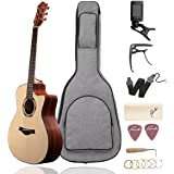 """Beginner Acoustic Guitar Ranch 41"""" Full Size Solid Wood Cutaway Beginners Steel String Guitars Kit Bundle with Gig Bag/Tuner/Capo/Strings/Strap/Picks Set Starter Pack for Adults (Grand Auditorium)"""