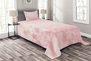 Ambesonne Nature Bedspread, Cherry Blossoms Pattern in Shabby Form Style Flourish Themed Fashionable Artwork Print, Decorative Quilted 2 Piece Coverlet Set with Pillow Sham, Twin Size, Pink