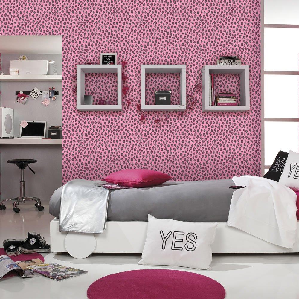 Pink Wallpaper Bedroom Leopard Print Wallpaper Animal Print Girls Bedroom Pink Black