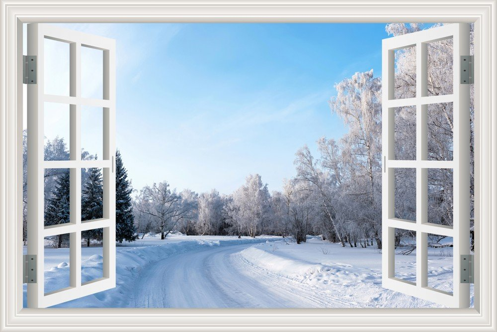 3D Window Scenery Wall Sticker Winter Snow Landscape Wallpaper Home Decor Decal Vinyl Mural Art 24''X36''